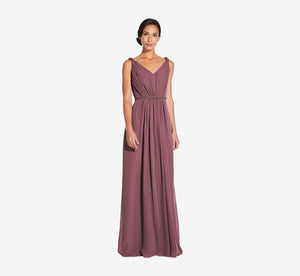 Juliette Sleeveless Chiffon Dress With Draped Back In Marsala