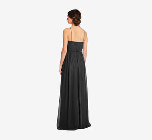 Lila Sleeveless Chiffon Dress With Ruched Bodice In Black