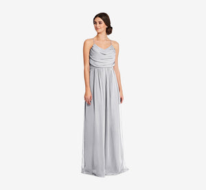 Lila Sleeveless Chiffon Dress With Ruched Bodice In Whisper