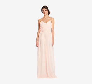 Lila Sleeveless Chiffon Dress With Ruched Bodice In Blush