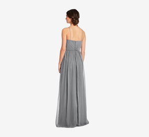 Lila Sleeveless Chiffon Dress With Ruched Bodice In Slate Grey