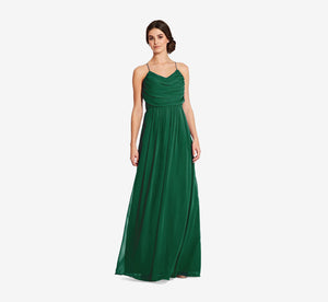 Lila Sleeveless Chiffon Dress With Ruched Bodice In Evergreen