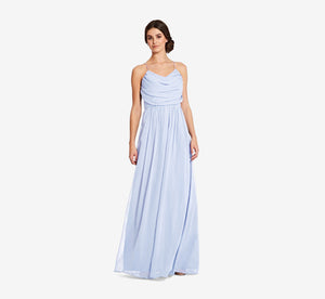 Lila Sleeveless Chiffon Dress With Ruched Bodice In Cloudy
