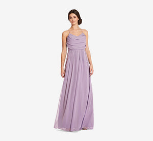 Lila Sleeveless Chiffon Dress With Ruched Bodice In Dusty Lilac