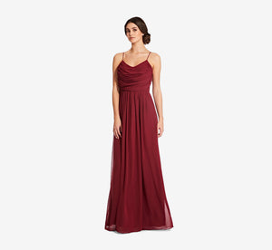 Lila Sleeveless Chiffon Dress With Ruched Bodice In Cabernet