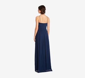 Lila Sleeveless Chiffon Dress With Ruched Bodice In Navy