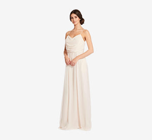 Lila Sleeveless Chiffon Dress With Ruched Bodice In Champagne