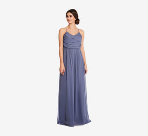 Lila Sleeveless Chiffon Dress With Ruched Bodice In Dusty Blue