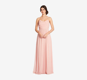 Lila Sleeveless Chiffon Dress With Ruched Bodice In Rose