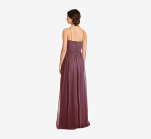 Lila Sleeveless Chiffon Dress With Ruched Bodice In Marsala