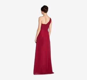 Louisa One Shoulder Chiffon Pleated Dress In Cabernet