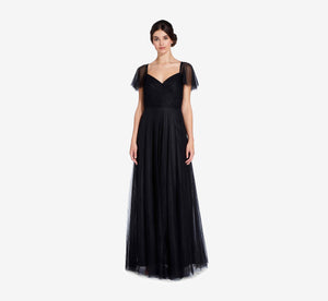Marie Tulle Dress With Flutter Sleeves In Black