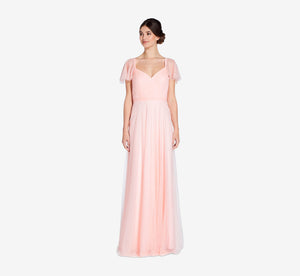 Marie Tulle Dress With Flutter Sleeves In Blush