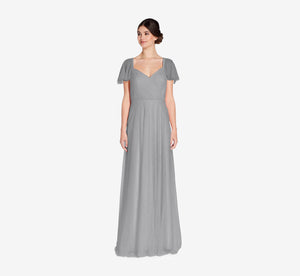 Marie Tulle Dress With Flutter Sleeves In Slate Grey