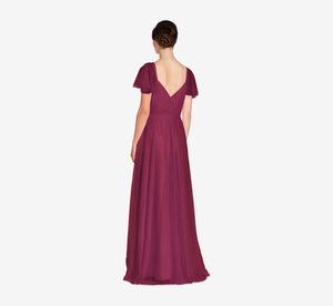 Marie Tulle Dress With Flutter Sleeves In Cabernet