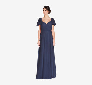 Marie Tulle Dress With Flutter Sleeves In Navy