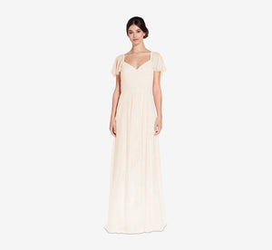 Marie Tulle Dress With Flutter Sleeves In Champagne