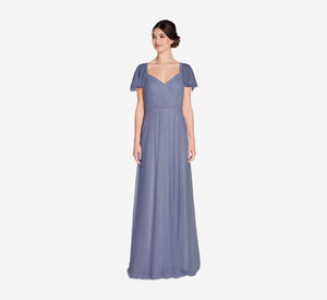 Marie Tulle Dress With Flutter Sleeves In Dusty Blue
