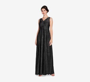 Mila Mermaid Chiffon Dress With Lace Bodice In Black