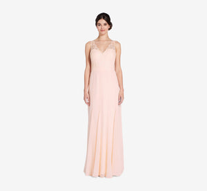 Mila Mermaid Chiffon Dress With Lace Bodice In Blush