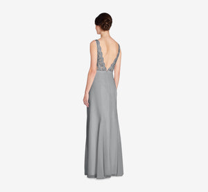 Mila Mermaid Chiffon Dress With Lace Bodice In Slate Grey