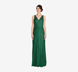 Mila Mermaid Chiffon Dress With Lace Bodice In Evergreen