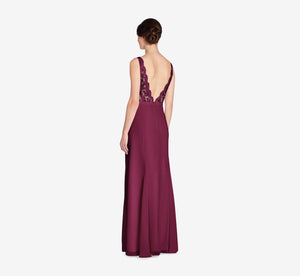Mila Mermaid Chiffon Dress With Lace Bodice In Cabernet