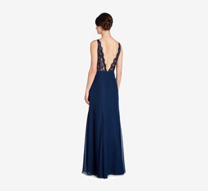 Mila Mermaid Chiffon Dress With Lace Bodice In Navy