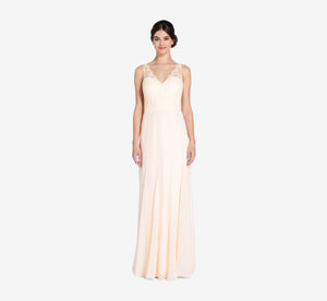 Mila Mermaid Chiffon Dress With Lace Bodice In Champagne