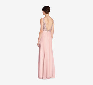 Mila Mermaid Chiffon Dress With Lace Bodice In Rose