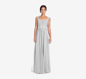 Riley Sleeveless Chiffon Dress With Pleated Bodice In Whisper
