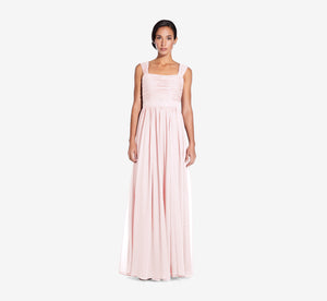 Riley Sleeveless Chiffon Dress With Pleated Bodice In Blush