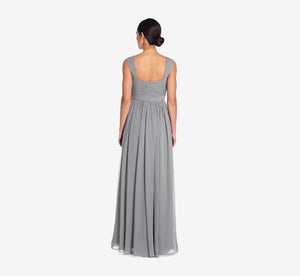 Riley Sleeveless Chiffon Dress With Pleated Bodice In Slate Grey