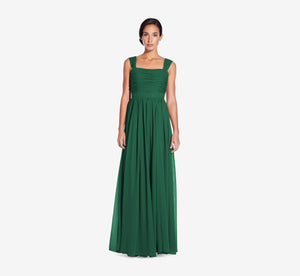 Riley Sleeveless Chiffon Dress With Pleated Bodice In Evergreen