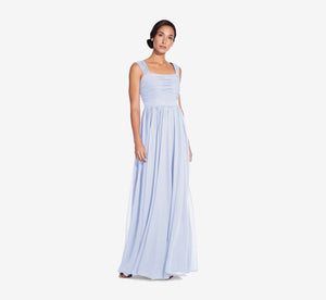 Riley Sleeveless Chiffon Dress With Pleated Bodice In Cloudy