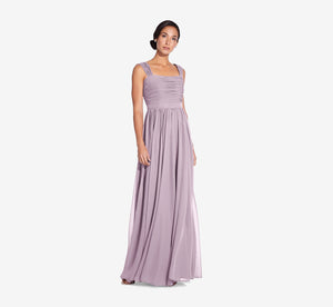 Riley Sleeveless Chiffon Dress With Pleated Bodice In Dusty Lilac