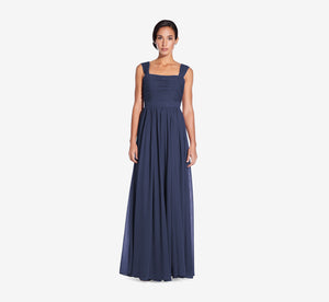 Riley Sleeveless Chiffon Dress With Pleated Bodice In Navy