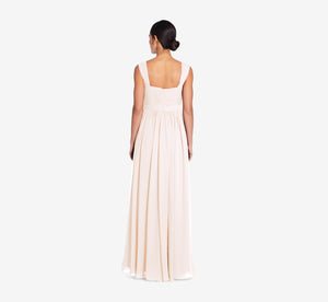 Riley Sleeveless Chiffon Dress With Pleated Bodice In Champagne