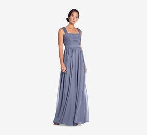 Riley Sleeveless Chiffon Dress With Pleated Bodice In Dusty Blue