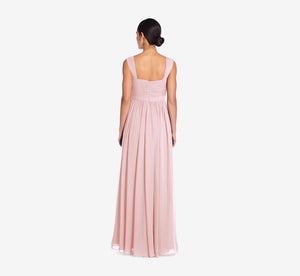 Riley Sleeveless Chiffon Dress With Pleated Bodice In Rose