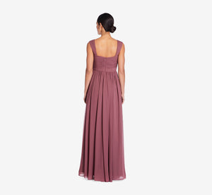 Riley Sleeveless Chiffon Dress With Pleated Bodice In Marsala
