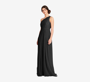 Savannah One Shoulder Chiffon Pleated Dress In Black
