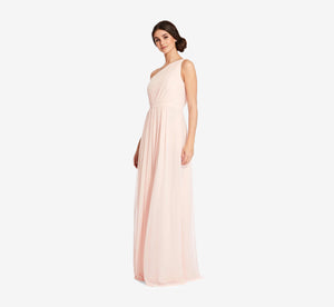 Savannah One Shoulder Chiffon Pleated Dress In Blush