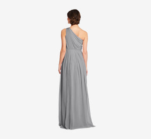 Savannah One Shoulder Chiffon Pleated Dress In Slate Grey