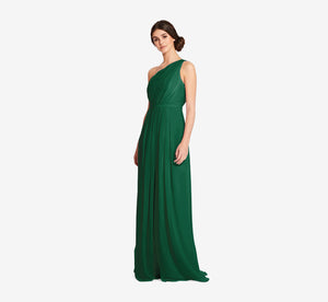 Savannah One Shoulder Chiffon Pleated Dress In Evergreen