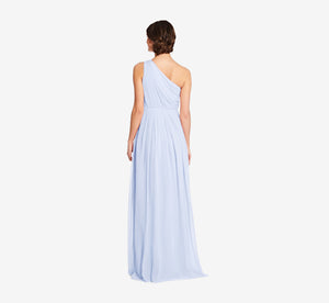 Savannah One Shoulder Chiffon Pleated Dress In Cloudy