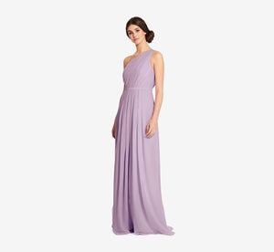 Savannah One Shoulder Chiffon Pleated Dress In Dusty Lilac