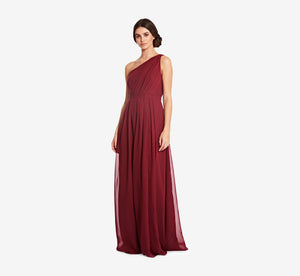 Savannah One Shoulder Chiffon Pleated Dress In Cabernet