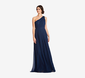 Savannah One Shoulder Chiffon Pleated Dress In Navy