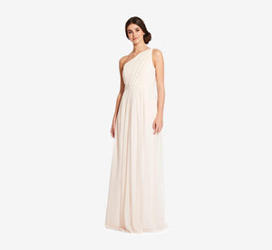 Savannah One Shoulder Chiffon Pleated Dress In Champagne